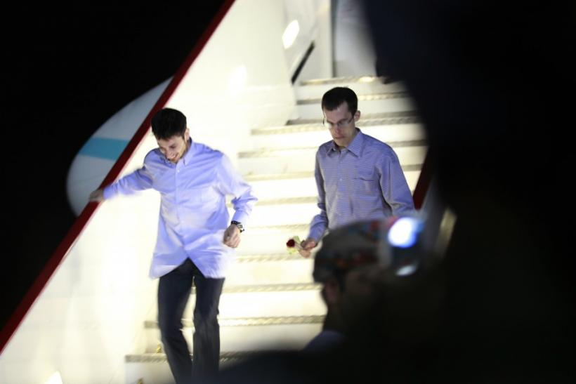 Shane Bauer and Josh Fattal, U.S. hikers who were held in Iran on charges of espionage, arrive in Muscat after their release from Tehran's Evin prison