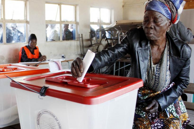 Mary Kapela casts her vote during the presidential election in Zambia at Chibolya Basic School