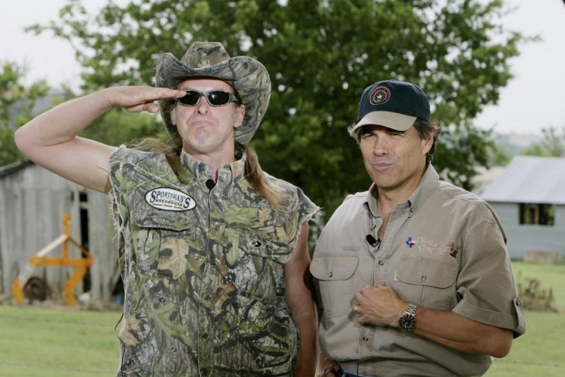 Texas Governor Perry and rock star Ted Nugent during television interview in Crawford.