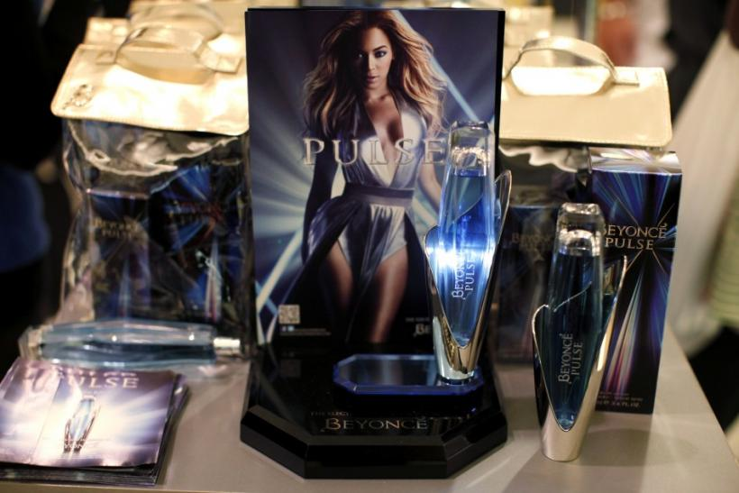 Bottles of the new Beyonce Pulse fragrance are displayed at Macy's store in New York