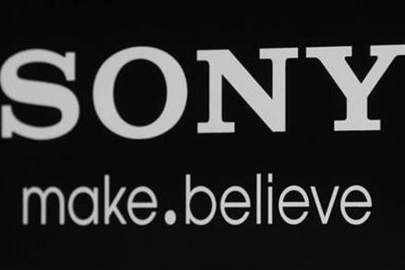 The Sony logo and slogan are pictured on a backdrop at a special screening of the new film Colombiana in Los Angeles, California