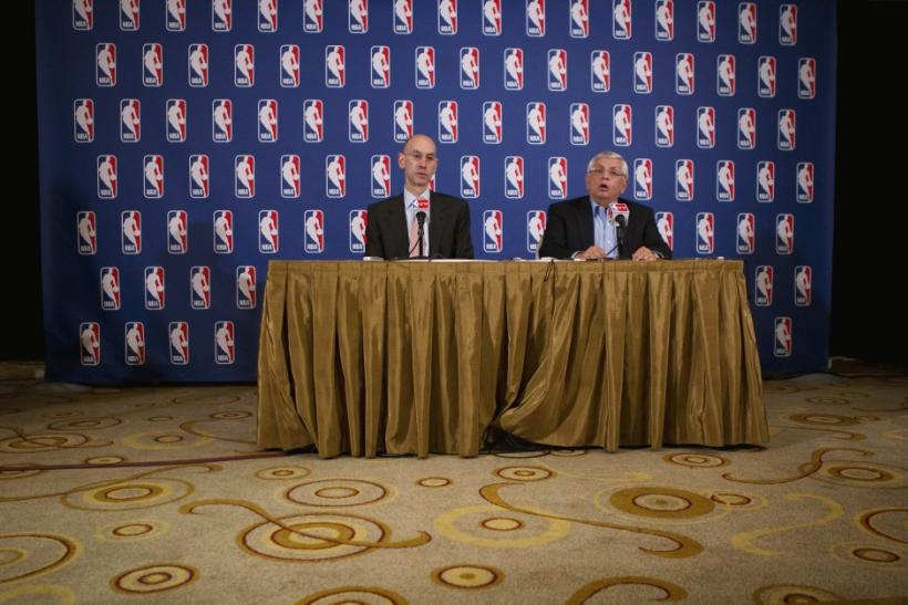 National Basketball Association commissioner David Stern answers questions with deputy commissioner, Adam Silver, regarding failed contract negotiations between the NBA and the players association in New York