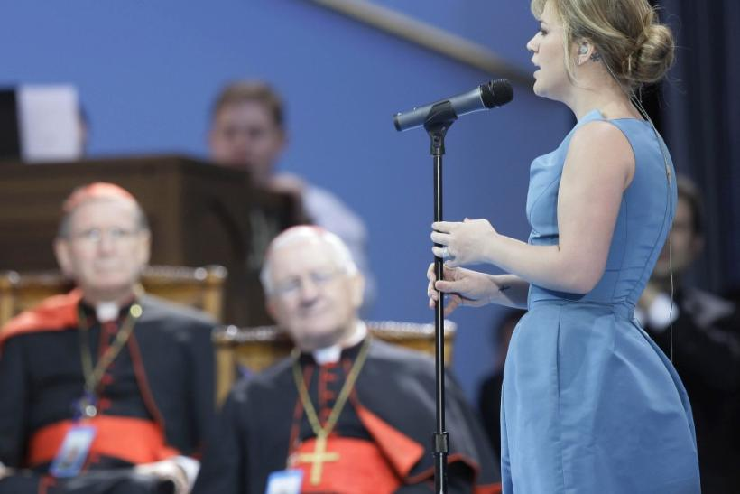 Kelly Clarkson sings the Ave Maria for Pope Benedict XVI during a youth rally at St.Joseph's Seminary in Yonkers