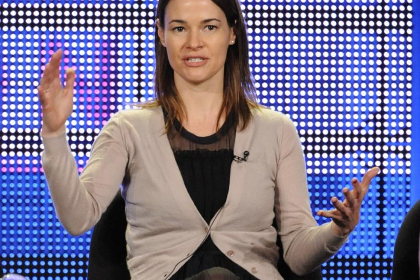 Leisha Hailey answers questions during the Television Critics Association winter press tour in Los Angeles