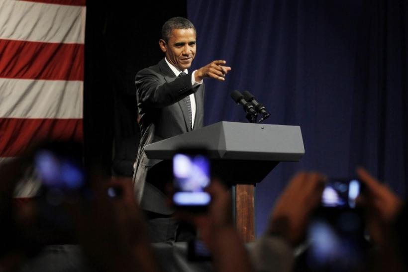 U.S. President Barack Obama participates in an election campaign rally in Los Angeles