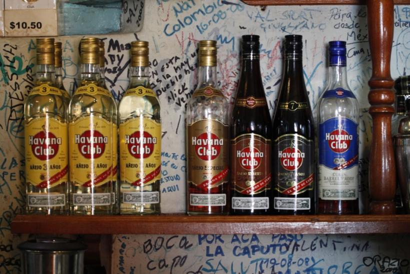 Havana Club rum in display in Old Havana