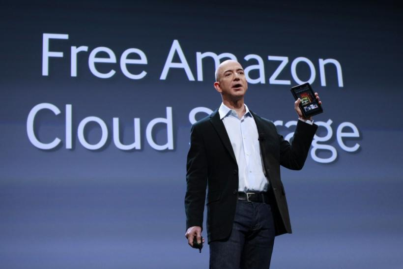 Amazon CEO Jeff Bezos speaks at a news conference during the launch of Amazon's new tablets in New Yor