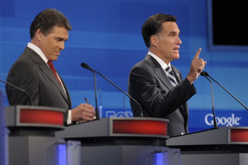 Perry and Romney at Orlando Debate