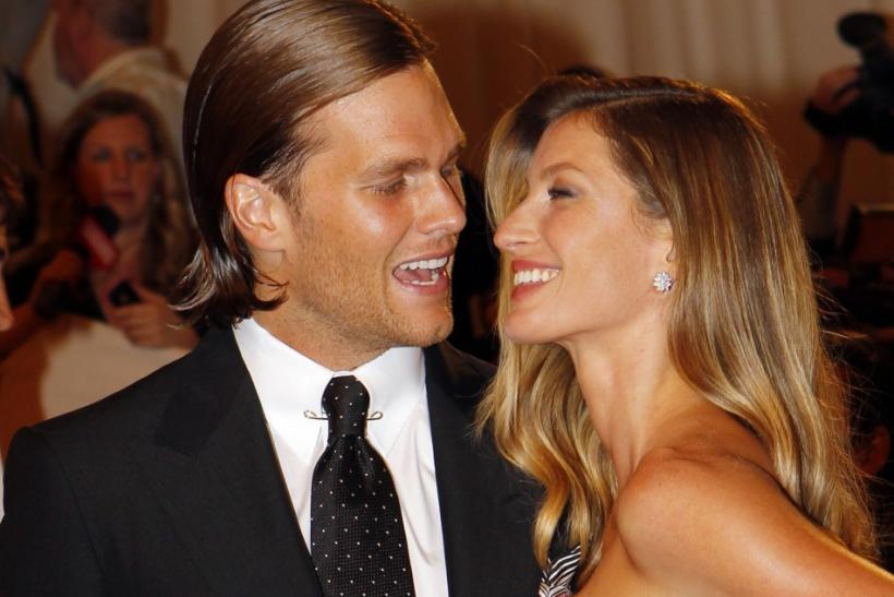 "Model Giselle Bundchen and New England Patriots NFL quarterback Tom Brady arrive at the Metropolitan Museum of Art Costume Institute Benefit celebrating the opening of the exhibition ""Alexander McQueen: Savage Beauty"" in New York May 2, 2011."