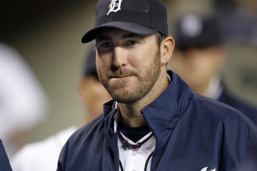 Tigers pitcher Verlander looks on in the dugout after the seventh inning against the Orioles in their MLB American League baseball game in Detroit