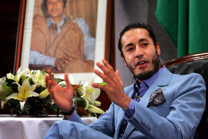 Al Saadi Gaddafi, the third son of Libyan leader Muammar Gaddafi, speaks at a news conference in ...