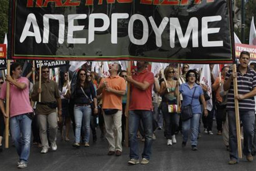 Doctors and medics march during a protest in central Athens