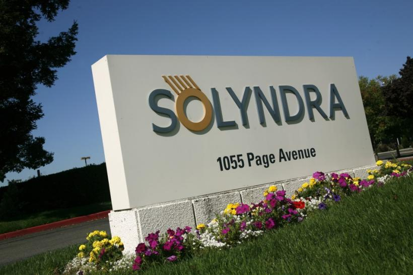 A sign at the entrance to the headquarters of bankrupt Solyndra LLC is shown in Fremont