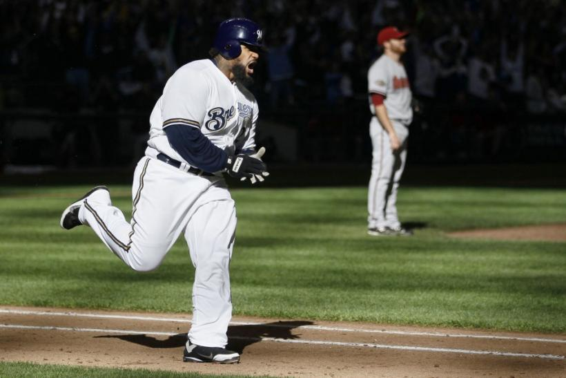 Brewers Prince Fielder celebrates two-run homerun against the Arizona Diamondbacks in Milwaukee