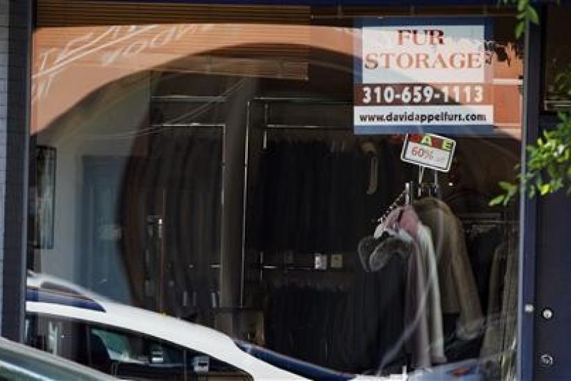 The display window of a fur store is pictured in West Hollywood, California