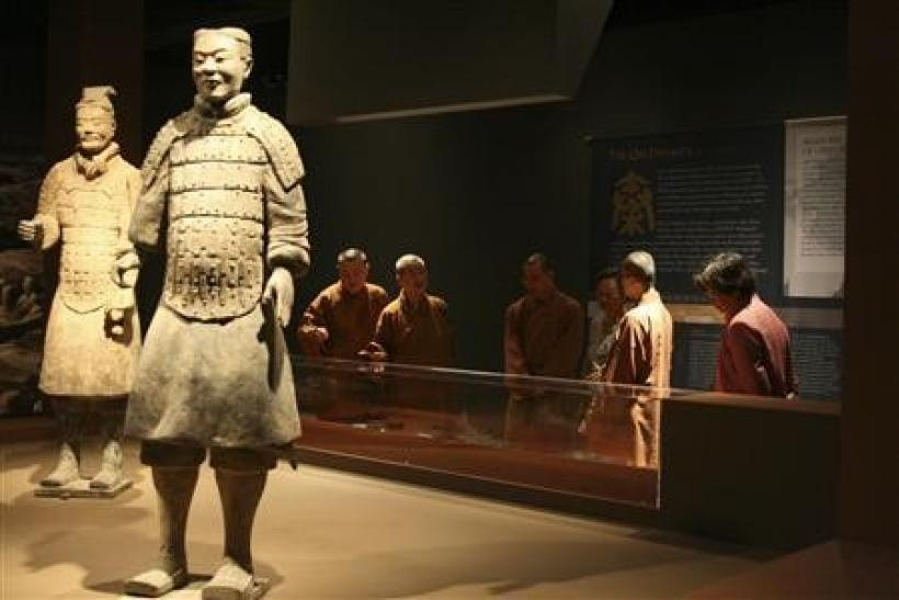 Two Chinese terracotta warriors are shown on display at the Bower Museum in Santa Ana, California