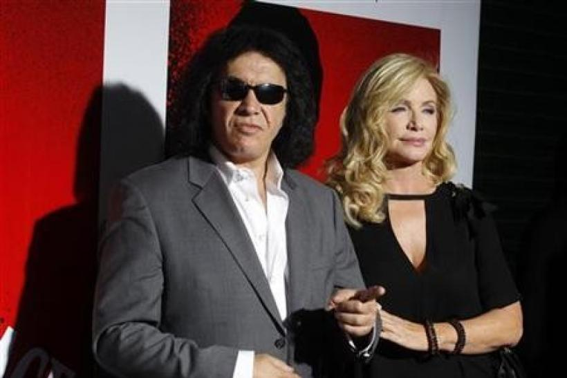 Gene Simmons of the band Kiss and actress Shannon Tweed arrive at the Blu-ray disc launch party for the 1983 classic film ''Scarface'' in Los Angeles, California