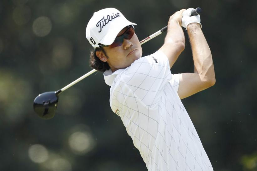 South Korea's Kevin Na tees off on the third hole during the third round of the 93rd PGA Championship golf tournament at the Atlanta Athletic Club in Johns Creek
