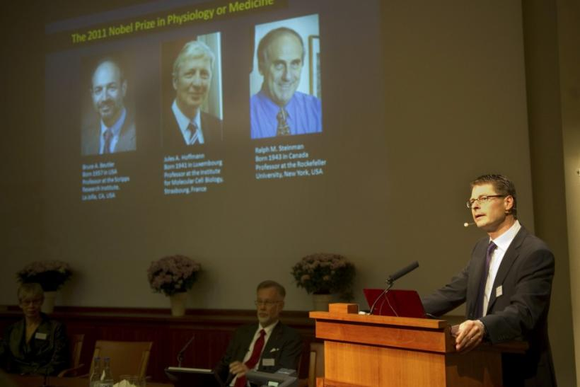 Professor Hans-Gustaf Ljunggren of Karolinska Institute announces the 2011 Nobel Physiology or Medicine laureates during a news conference in Stockholm