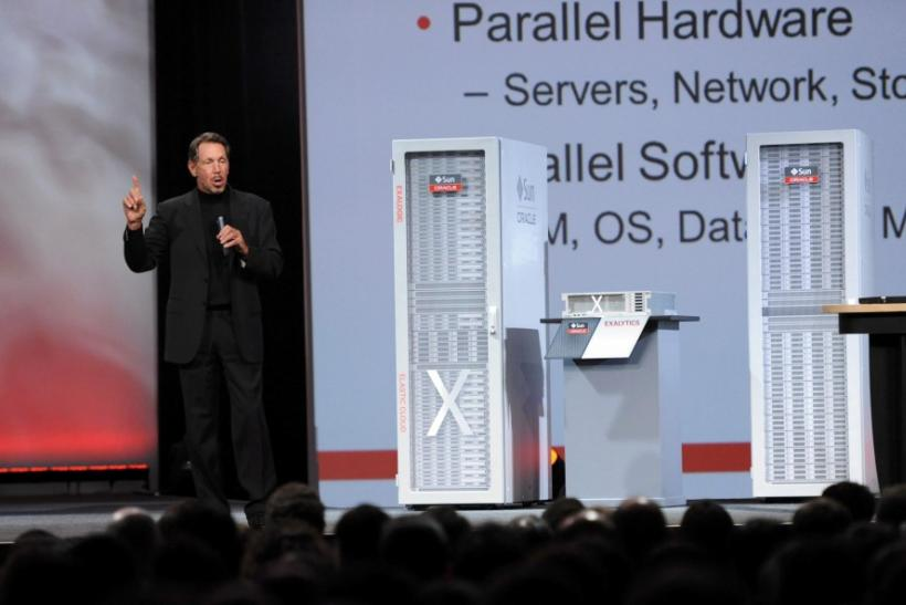 Oracle CEO Larry Ellison speaks at the 29th Oracle OpenWorld in San Francisco