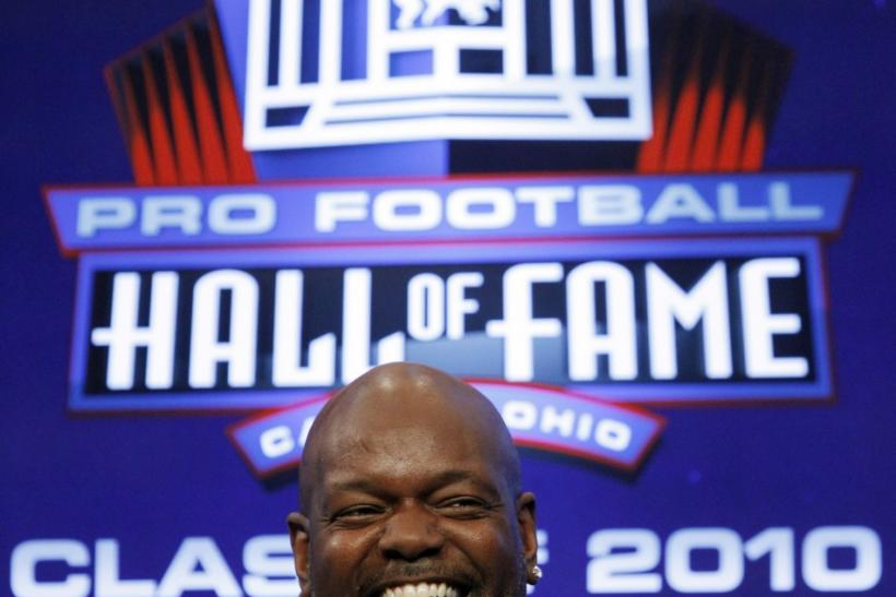 Former NFL player Emmitt Smith smiles after being elected to the Pro Football Hall of Fame in Fort Lauderdale