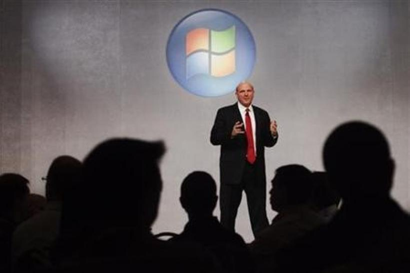 Microsoft CEO Steve Ballmer speaks about the upcoming release of Microsoft's new operating system, Windows 7, in Toronto