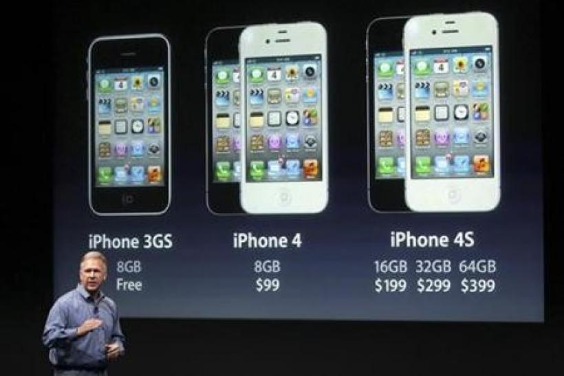 Philip Schiller, Apple's senior vice president of Worldwide Product Marketing, speaks about iPhones, including the iPhone 4S, at Apple headquarters in Cupertino, California