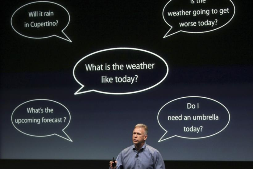 Philip Schiller, Apple's senior vice president of Worldwide Product Marketing, speaks about voice recognition on the iPhone 4S at Apple headquarters in Cupertino, California
