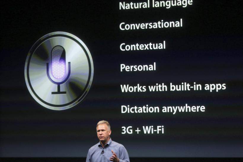 Philip Schiller, Apple's senior vice president of Worldwide Product Marketing, speaks about Siri voice recognition and detection on the iPhone 4S at Apple headquarters in Cupertino, California