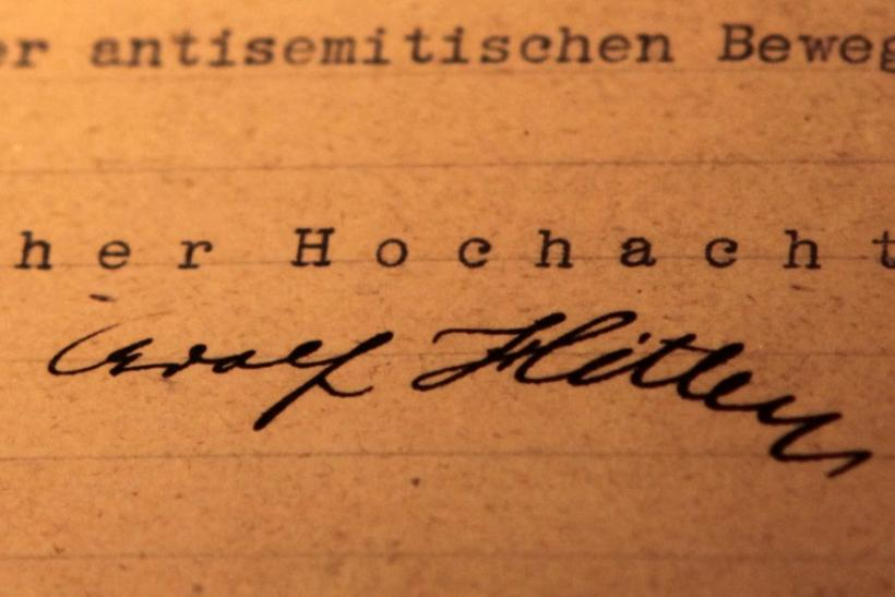 A copy of the 'Gemlich Letter', written by Adolf Hitler in 1919, is unveiled for public display at the Museum of Tolerance in Los Angeles, California