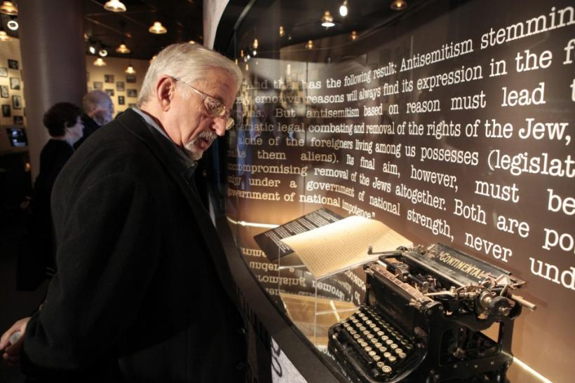 Holocaust survivor Dr Jack Wetter, 68, views a copy of the 'Gemlich Letter', which was written by Adolf Hitler in 1919 and unveiled for public display at the Museum of Tolerance in Los Angeles, California