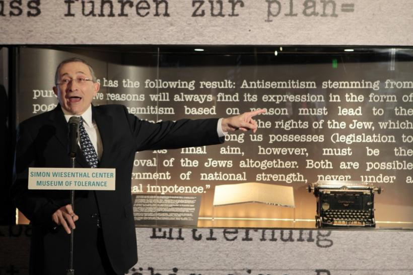 Rabbi Marvin Hier, founder and dean of the Simon Wiesenthal Center Museum of Tolerance, unveils a copy of the 'Gemlich Letter', written by Adolf Hitler in 1919, in Los Angeles, California