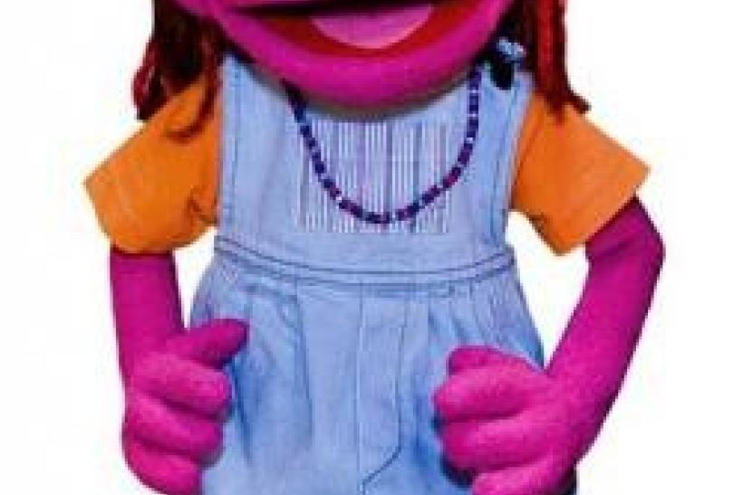 New Muppet character Lily, whose family has an ongoing struggle with hunger, is seen in an undated handout image.