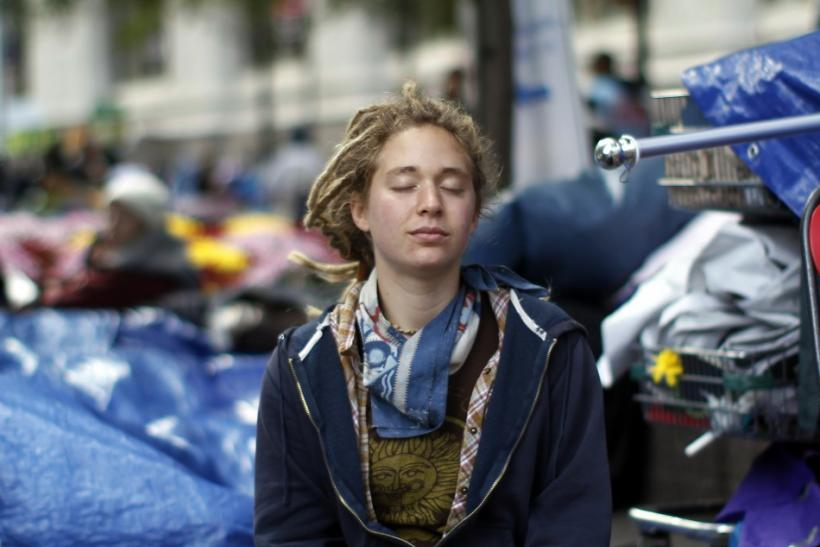 An Occupy Wall Street protester meditates at Zuccotti Park in lower Manhattan in New York