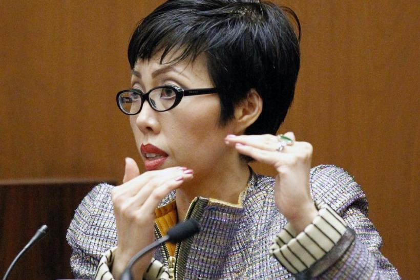 Cardiologist Dr. Thao Nguyen gestures as she testifies during Dr. Conrad Murray's trial in the death of pop star Michael Jackson in Los Angeles
