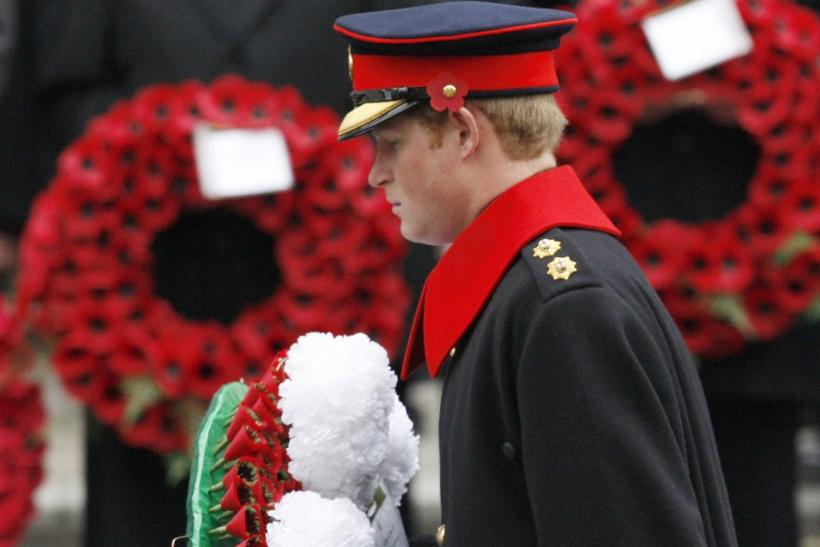 Britain's Prince Harry prepares to lay a wreath at the Cenotaph during the annual Remembrance Sunday ceremony in Whitehall, in central London.