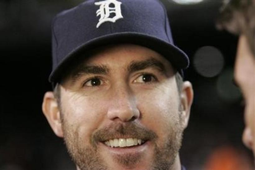 Detroit Tigers starting pitcher Justin Verlander smiles after the Tigers defeated the New York Yankees in Game 3 in their MLB American League Division Series baseball playoffs in Detroit