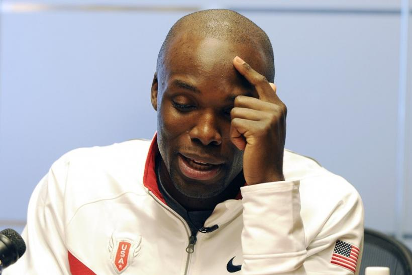U.S. Olympic Champion LaShawn Merritt smiles as he talks to members of the media in Atlanta