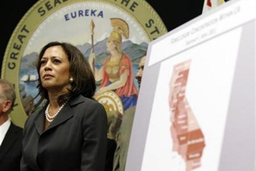 Attorney General of California Kamala Harris attends a news conference to announce the creation of the Mortgage Fraud Strike Force in Los Angeles