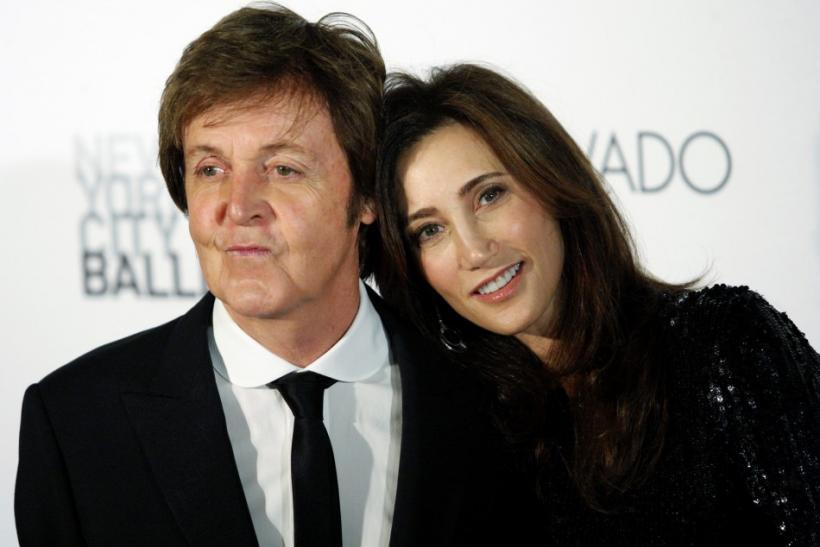 Former Beatle Paul McCartney and his fiancee, New York heiress Nancy Shevell, arrive for the world premiere of his ballet ?Ocean?s Kingdom? in New York