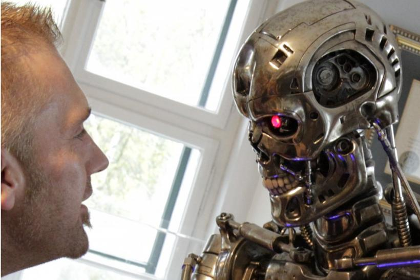 A visitor looks at robot figure inside the house where Austrian actor and former California governor Schwarzenegger was born in Thal
