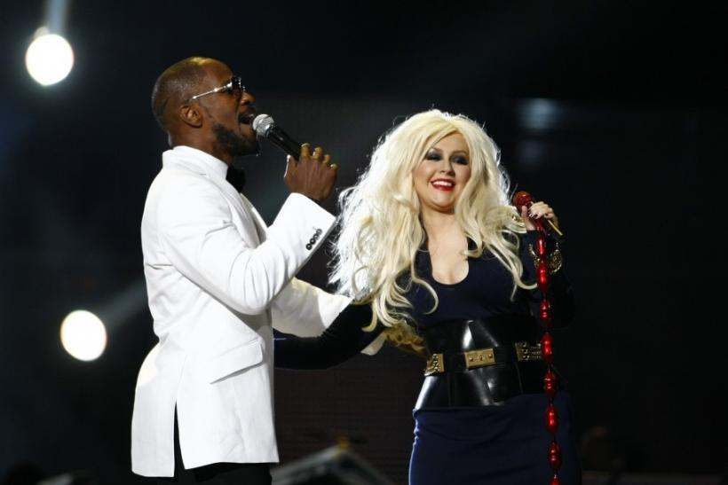 "Jamie Foxx and Christina Aguilera perform during the ""Michael Forever"" tribute concert, which honours late pop icon Michael Jackson, at the Millennium Stadium in Cardiff, Wales"