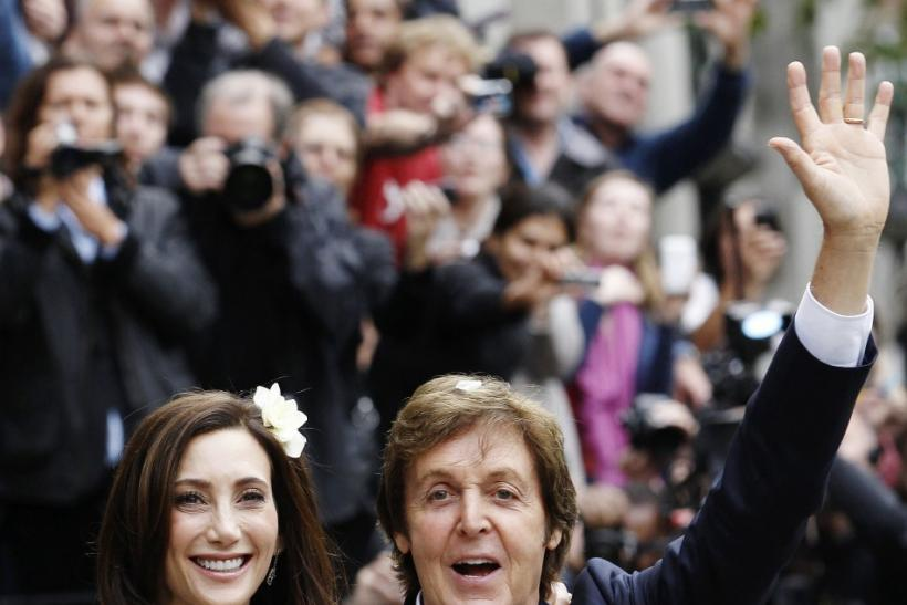 Singer Paul McCartney and his bride Nancy Shevell leave after their marriage ceremony at Old Marylebone Town Hall in London