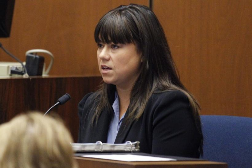 Los Angeles County coroner investigator Elissa Fleak testifies during Dr. Conrad Murray's trial in the death of pop star Michael Jackson in Los Angeles