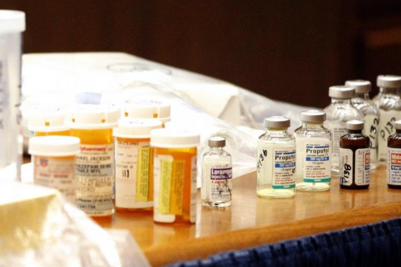 Drugs found in the home of pop star Michael Jackson sit on the prosecution's table after being introduced as evidence during Dr. Conrad Murray's trial in Los Angeles
