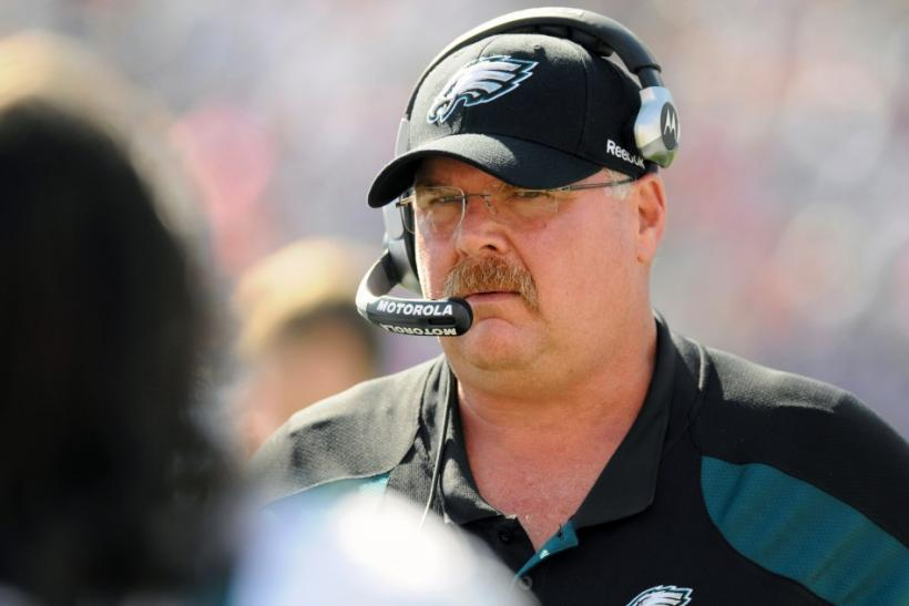 Eagles' Andy Reid is seen on the field against the Bills in the first quarter of their NFL football game in Orchard Park