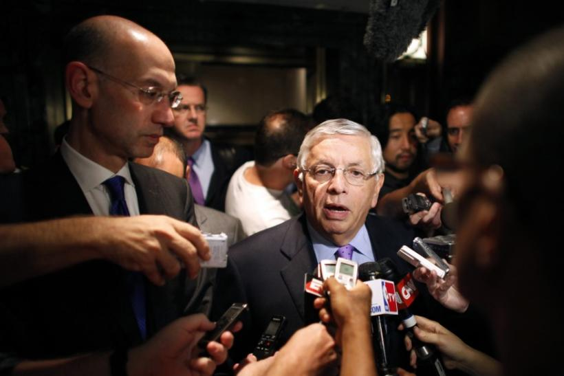 National Basketball Association commissioner Stern answers questions to members of the media outside the Louvell hotel in New York