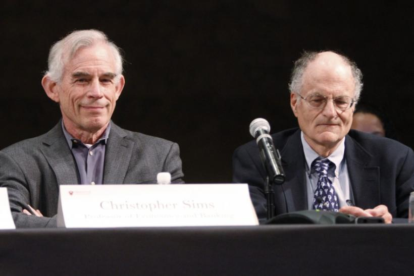 Nobel Prize for Economics winners Professors Sims and Sargent during a news conference at Princeton University in Princeton New Jersey
