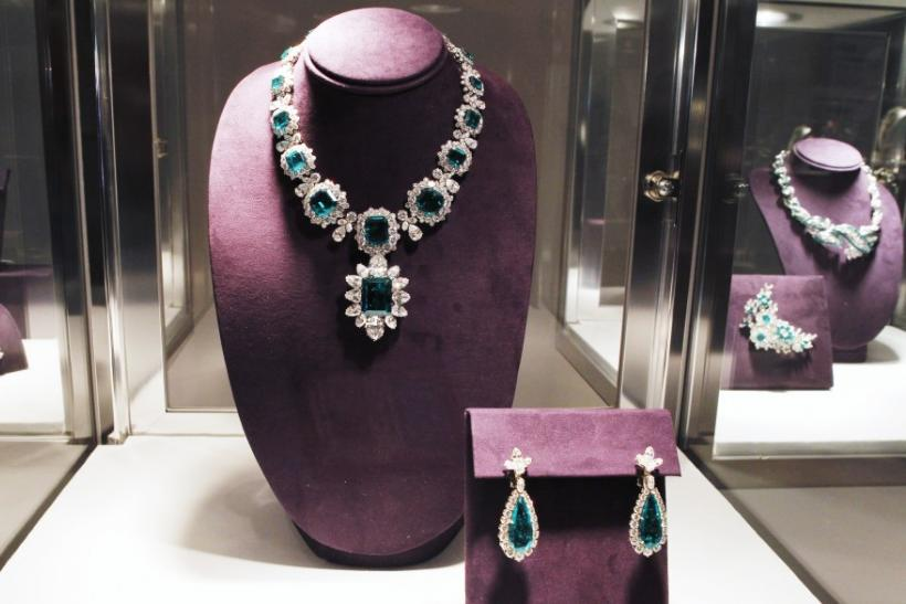 An emerald and diamond necklace by Bvlgari.