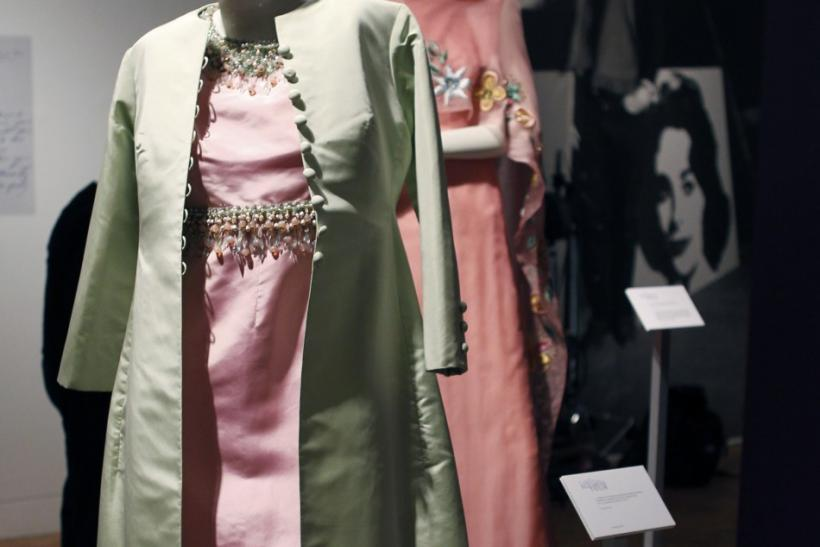 Christian Dior sugar pink paper taffeta evening sheath and pale green silk full-length evening coat.